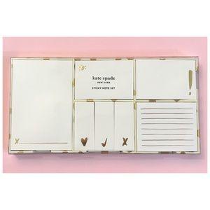 NEW Kate Spade♠️Sticky Note Set Gold Flamingo Dot
